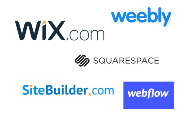 wix vx weebly vs squarespace vs sitebuilder vs webflow 750x450